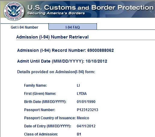 Form I-94 Sample USA Arrival / Departure Record - sample form
