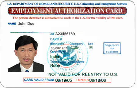 Sample Employment Authorization Document EAD - sample employment authorization form