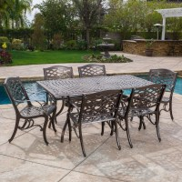 Odena Cast Aluminum 7 Piece Outdoor Dining Set with ...