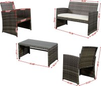 GHP 4pc Gray Rattan Wicker Outdoor Patio Furniture Set