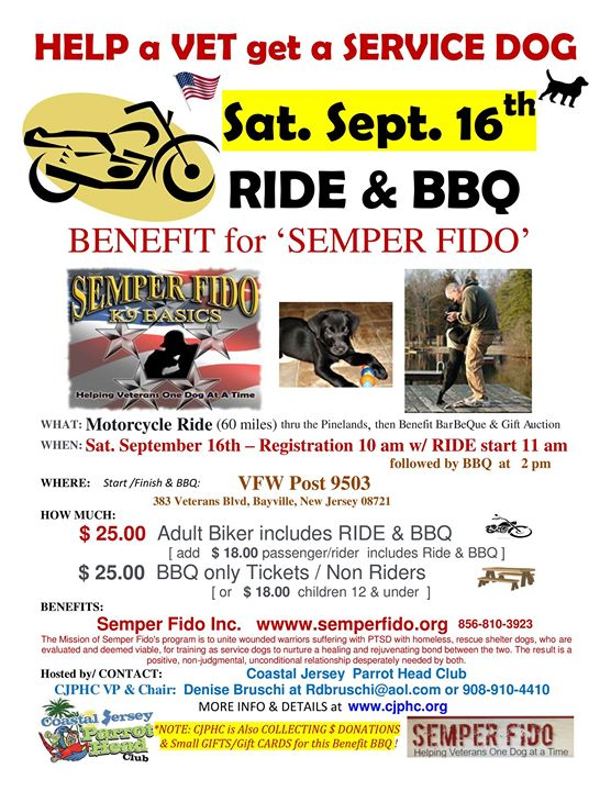 Semper Fido \u2013 Motorcycle Ride, Barbeque and gift auction \u2013 Patriot - bbq benefit flyers