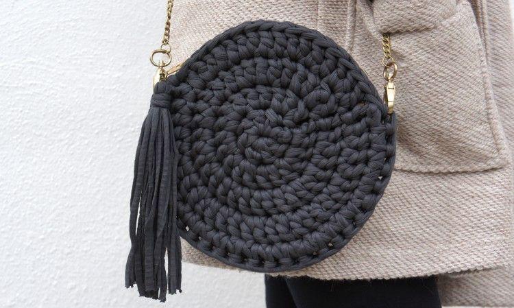 Bolso de trapillo redondo patronesmil for Bolsos de crochet de trapillo