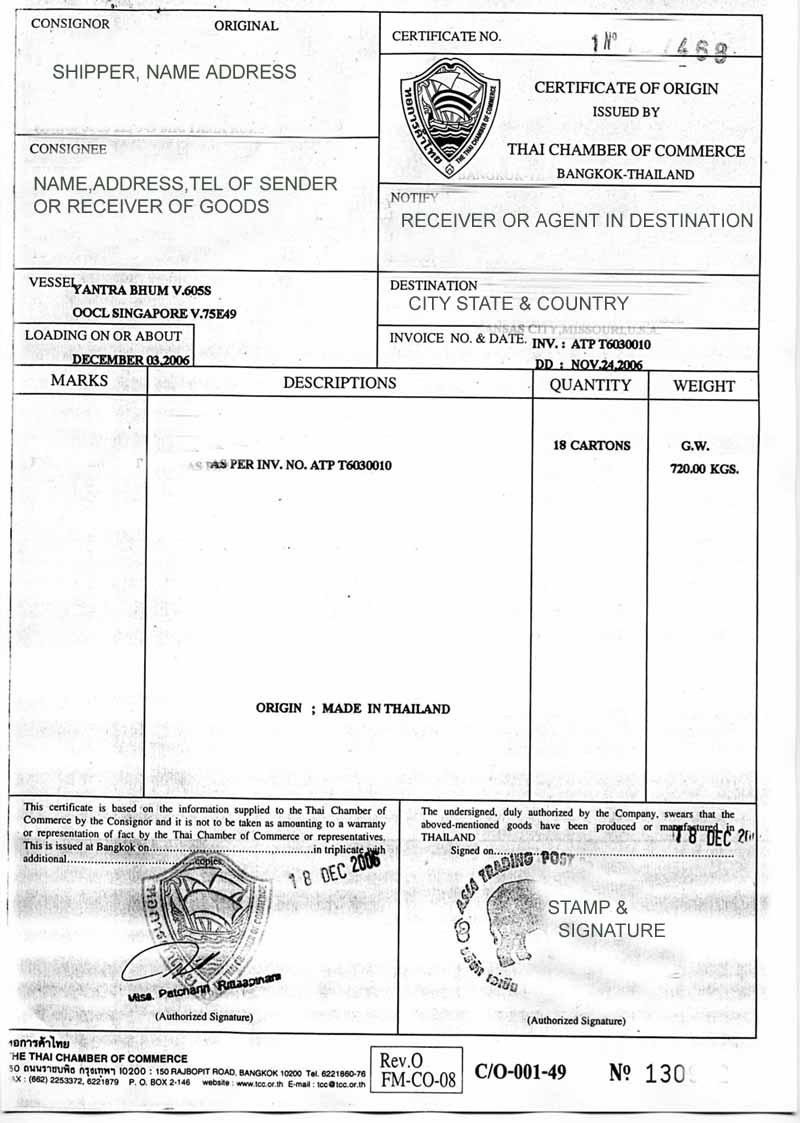 Nafta Certificate Of Origin Template certificate of origin form – Blank Certificate of Origin Form
