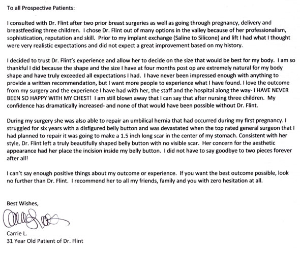 Testimonials Scottsdale Plastic Surgeon Dr Patti Flint - thank you letter to doctor