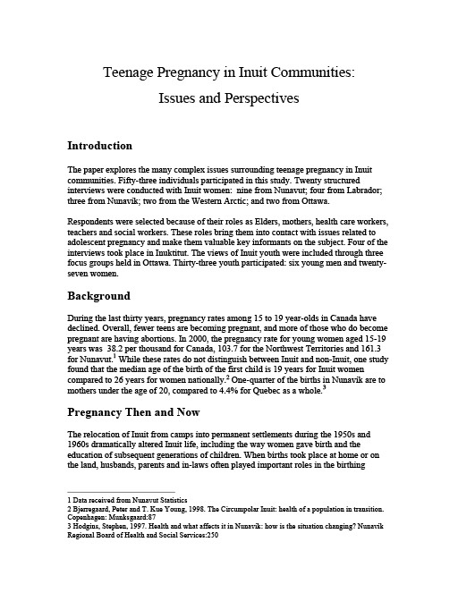 Teenage Pregnancy in Inuit Communities Issues and Perspectives