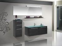 Design Badezimmermbel - Set mit Highboard, Glaswaschtisch ...