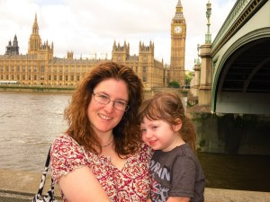 Libby and Emerson across from Houses of Parliament