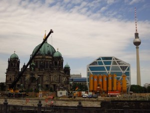 Berlin in a nutshell: distinguished and old; Soviet-era remnants, funky new buildings, and ongoing (re-)construction...