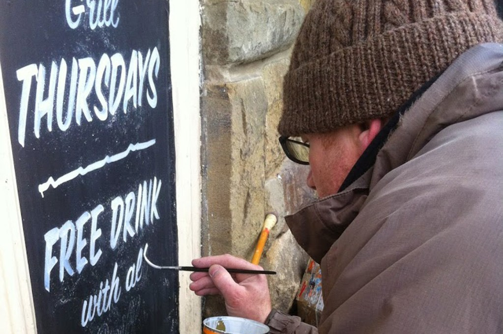 Sign writing Chalkboards on Bridlington Harbour