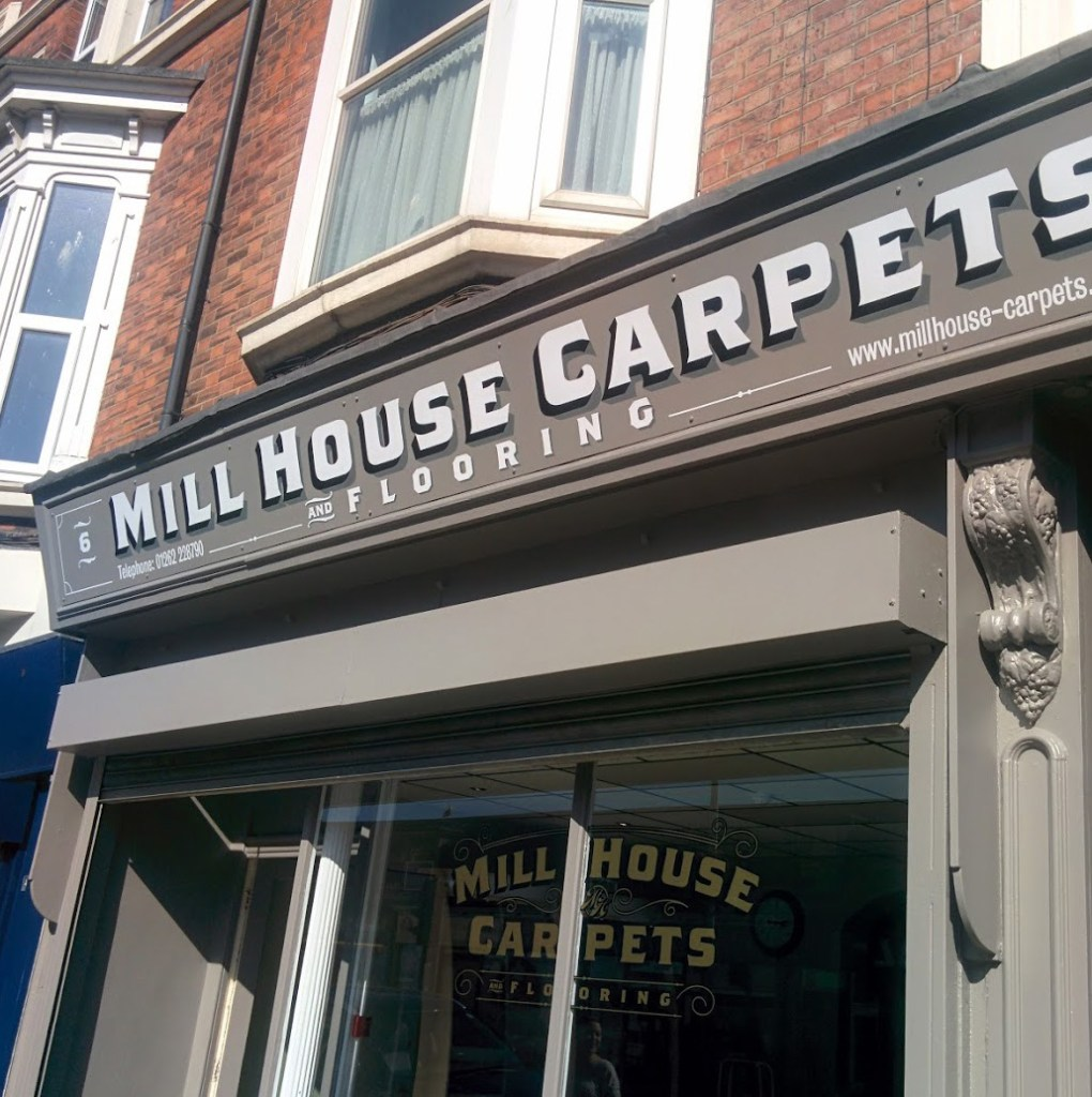mill house carpets shop facia sign