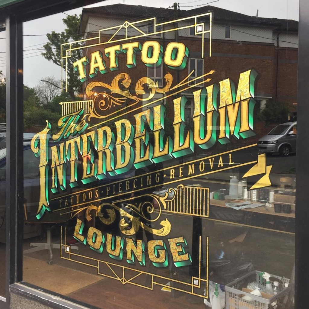 The Interbellum Tattoo Lounge Gold Leaf Signwriting