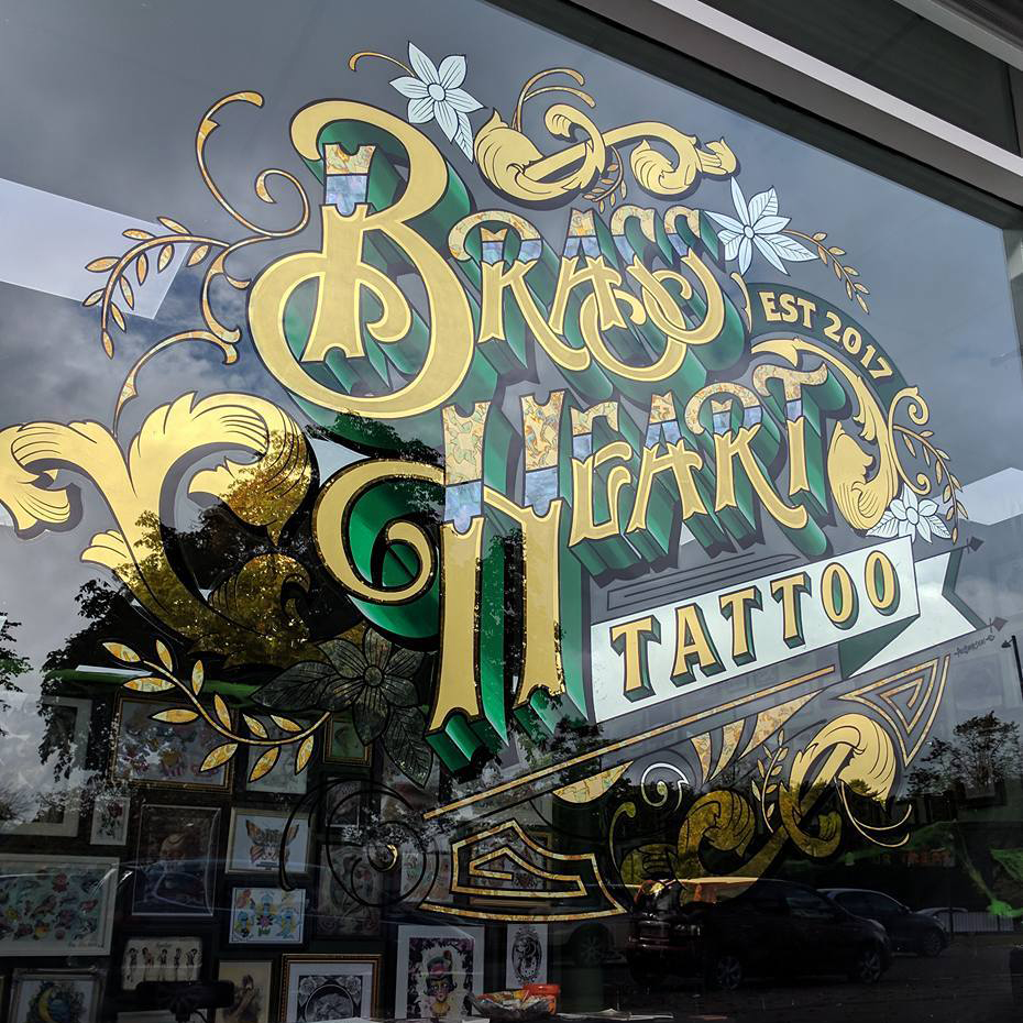 brass heart tattoo shop gold leaf sign by paul banks - complete