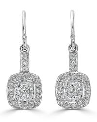Cushion Halo Drop Earrings