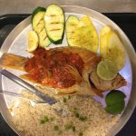 Whole red snapper Vera Cruz