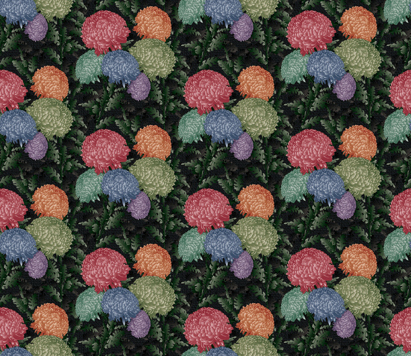 Paul S OConnor Psilo Chrysanthemum Textile Pattern Print