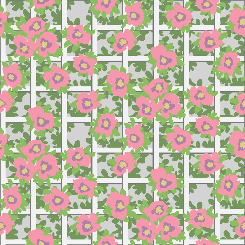 Paul S OConnor Rosa Trellis Textile Print Pattern