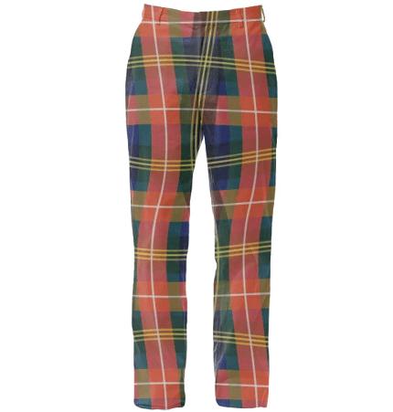 Paul S OConnor Bad Plaid Textile Print Trousers Pattern