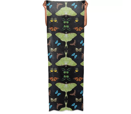 Paul S OConnor Midnight Moths Textile Print Pattern Scarf