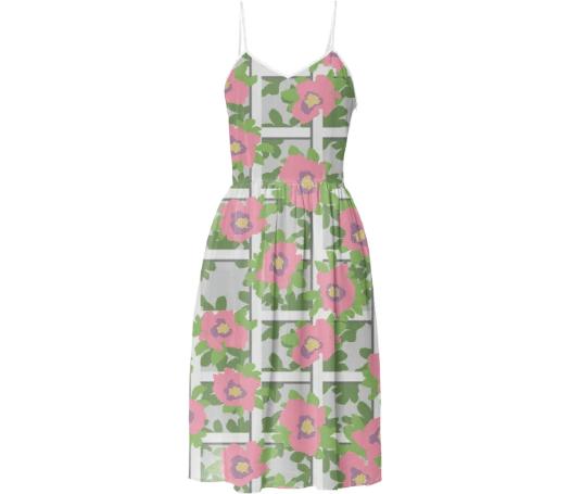 Paul S OConnor Rosa Trellis Textile Print Pattern Summer Dress