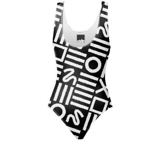 Paul S OConnor Rough Geometry Textile Pattern Print Swim Suit