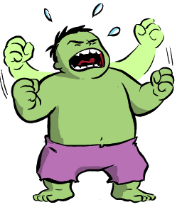 """I just remembered that Colleen usually bases Hulk drawings on me, and on my own tirades for things like misuse of the word, """"literally."""""""