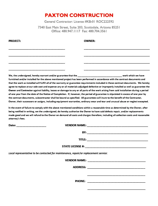 Subcontractor Guarantee Letter - Paxton Construction