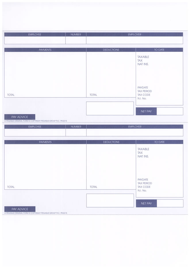 PEG215 - PEGASUS ORIGINAL 1 PART A4 LASER PAYSLIP - 2 PER SHEET - PK
