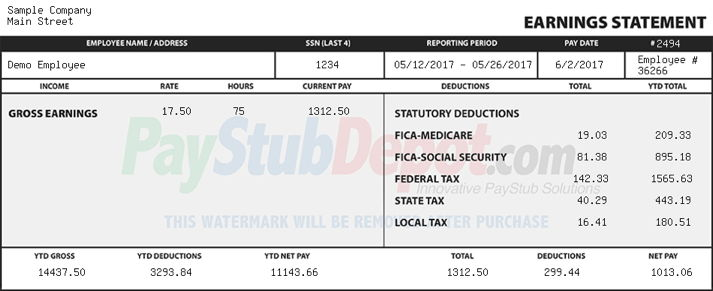 Paystub Generator Real Check Stubs Create a Pay Stub