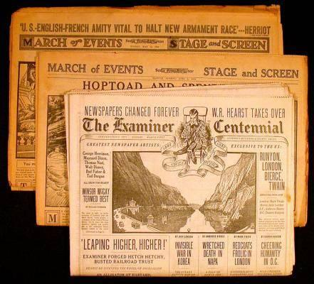 Copies of the final editions of various Hearst newspapers, other
