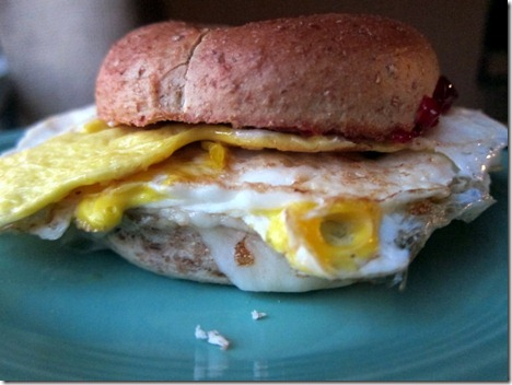 bagel cheese jelly egg