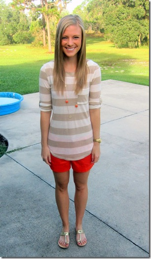 striped shirt and red shorts