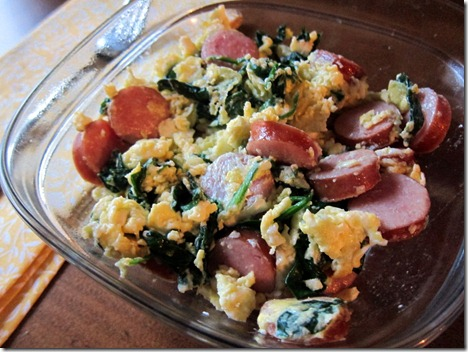 scrambled eggs chicken sausage spinach