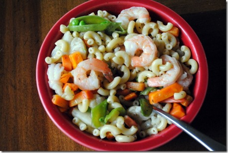 macaroni noodles with vegetables and shrimp