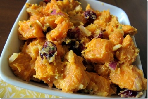 SweetPotatoSaladwithCurryandDriedCranberries