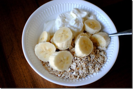 yogurt with oatmeal and banana