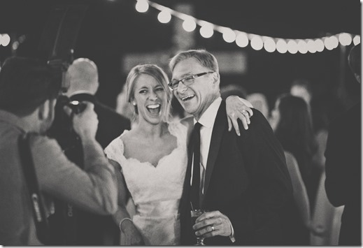 Dad and Daughter Laughing at Wedding