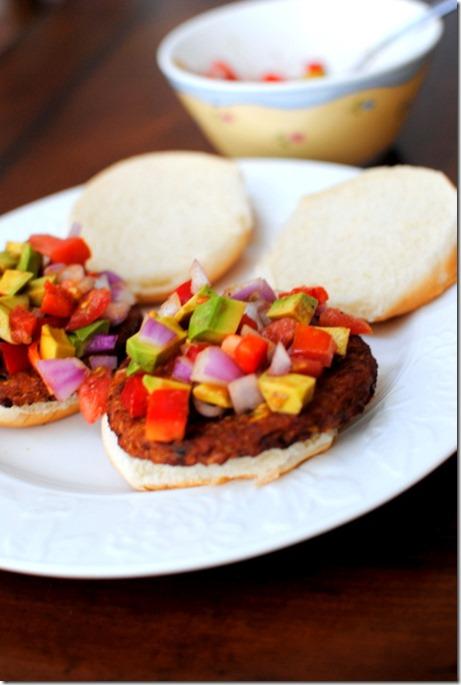 Cumin Crusted Black Bean Burgers with Avocado Relish