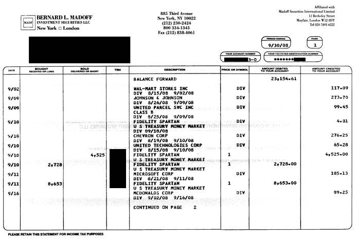 Madoff Clients\u0027 Statements The Madoff Affair FRONTLINE PBS