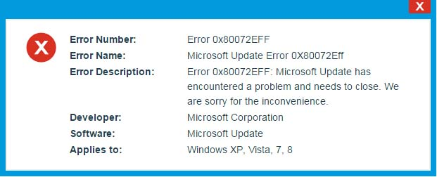 Steps to fix Microsoft Update Error 0x80072EFF - Fix PC Errors