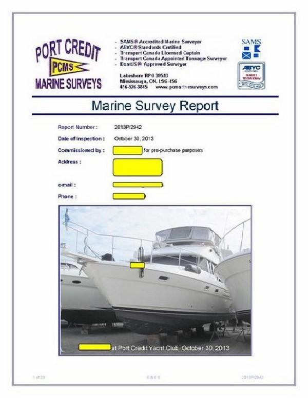 Sample example of marine survey report, compared Bill Provis, Marine
