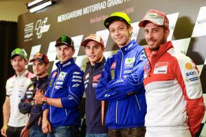 Cal Crutchlow, Dani Pedrosa, Jorge Lorenzo, Marc Márquez, Valentino Rossi y Andrea Dovizioso