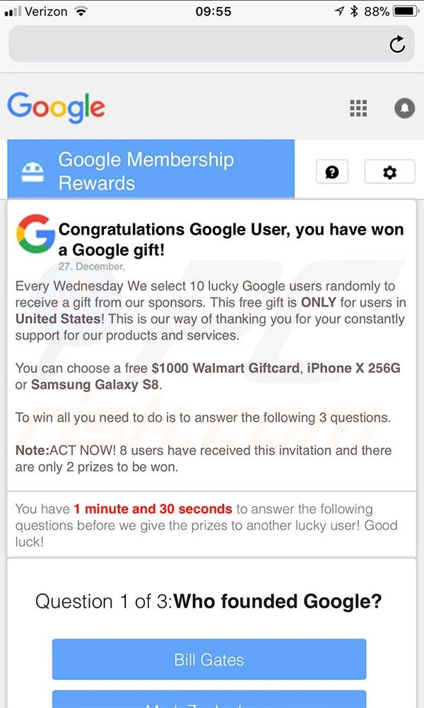 How to uninstall You Have Won A Google Gift Scam - Virus removal