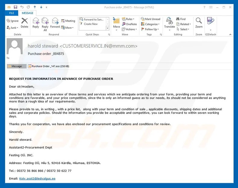 How to remove Purchase Order Email Virus - Virus removal instructions