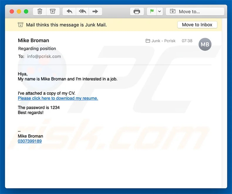 How to remove Job Application Email Virus - Virus removal instructions