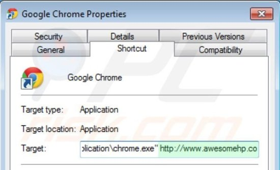Remover o vírus Awesomehp.com do atalho do Google Chrome passo 2