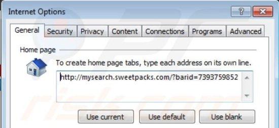 de Mysearch.sweetpacks.com da página inicial do Internet Explorer