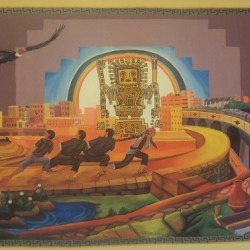 Artist interpretation of  the construction of Puma Punku  at theTiwanaku Dining Hall.