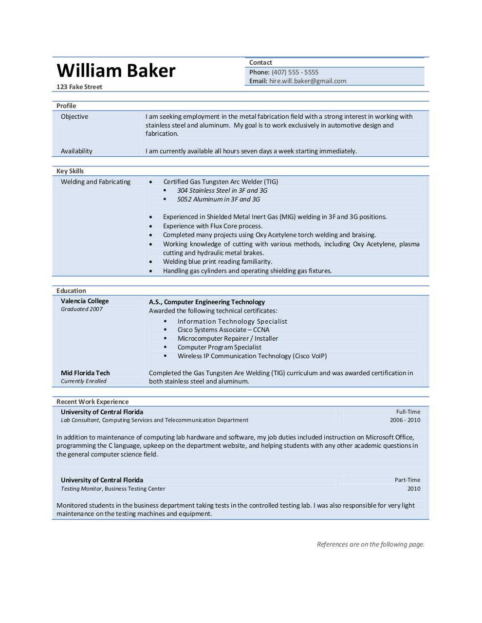 William Baker Welding Resume by Will - PDF Archive