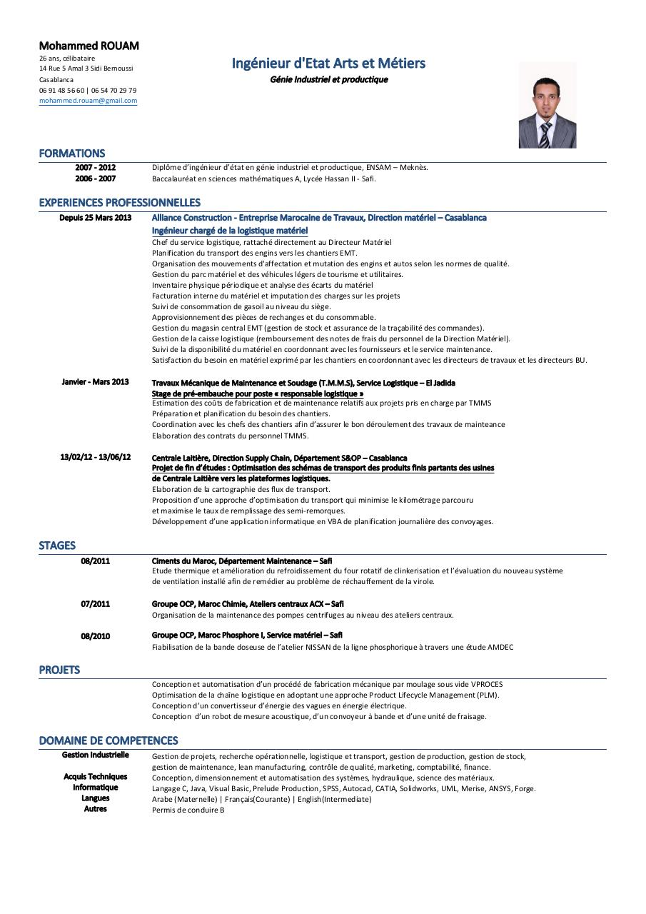 cv maintenance informatique pdf
