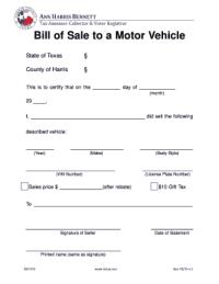 Bill Of Sale Form Texas Harris County Vehicle Bill Of Sale ...